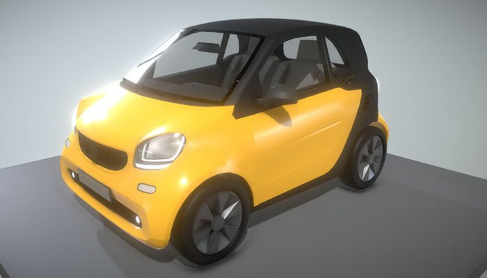 gelber Smart Fortwo 3D-Modell download
