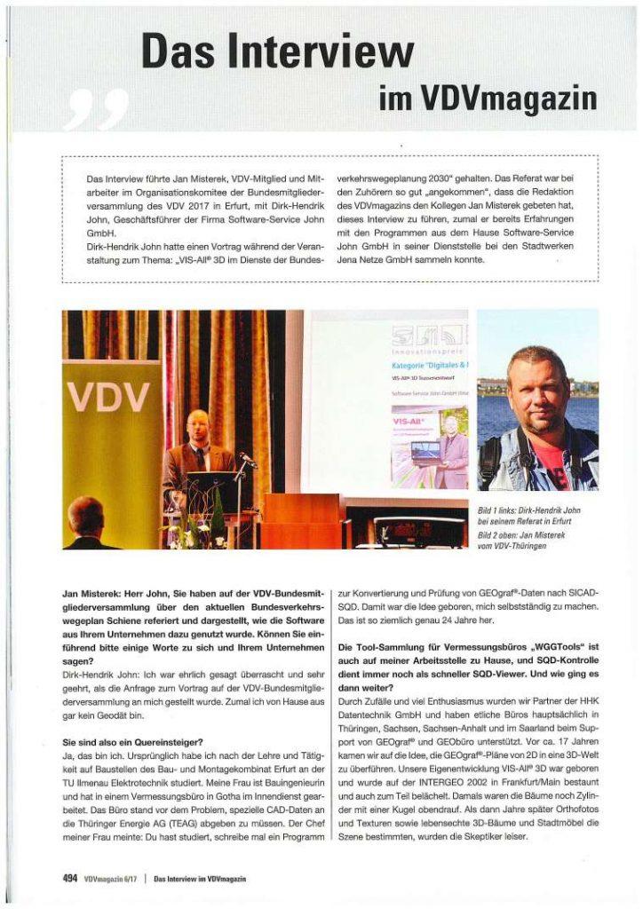 VDV Magazin, Interview