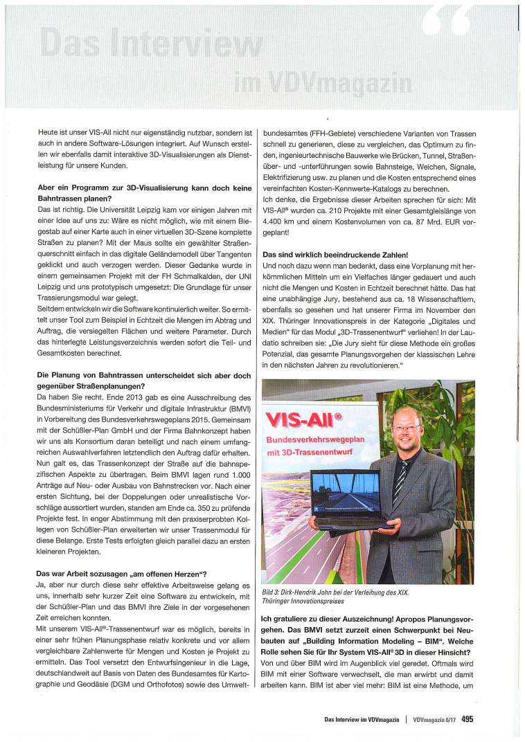 VDV Magazin, Interview