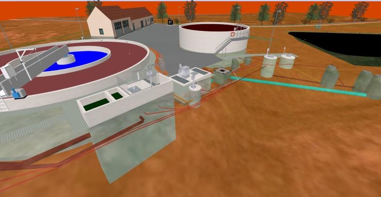 3D Visualisierung von Belebungsbecken bei der Kläranlage in Berka