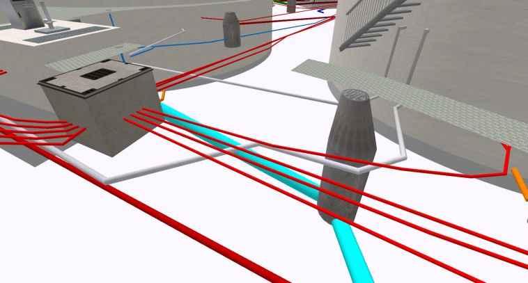 3D-Visualisierung von Fernwärmeversorgung: Heizungsverteilerbauwerk mit Einstiegsluke