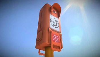 Emergency Call Box-Notrufsäule-3d-model-download