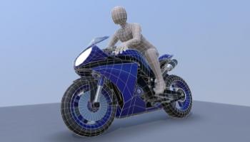 3D-Modell Motorrad mit dem Fahrer