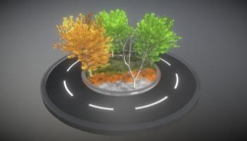 Detailliertes 3D-Baum-Modell Typ Linden, in verschiedenen Größen, mit Texturen und Materialien.