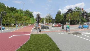 Fotomontage einer geplanten Veloroute in der Stadt Münste