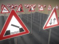 3D-Modelle Verkehrszeichen und Straßenschilder: Gefahrenzeichen